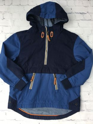 FatFace navy blue and royal blue pullover the head coat age 6-7
